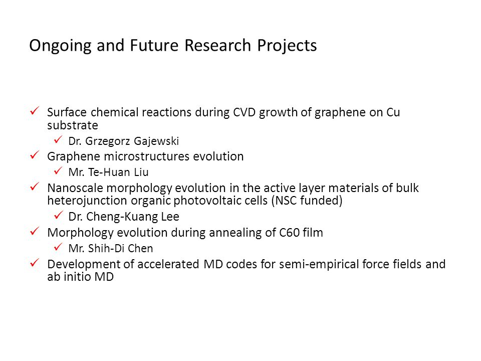 Ongoing and Future Research Projects