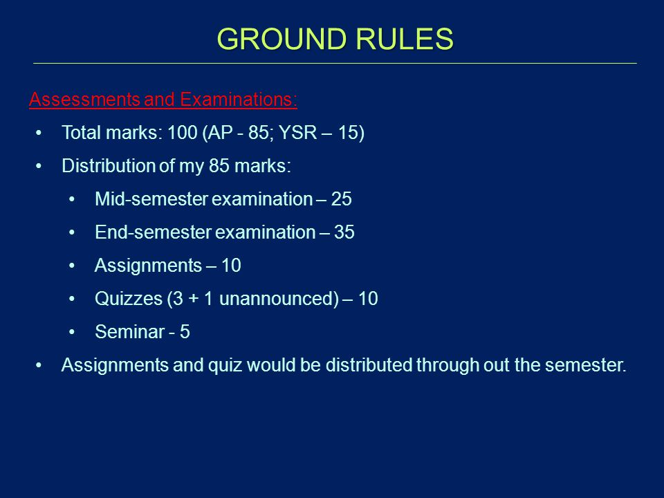 GROUND RULES Assessments and Examinations: