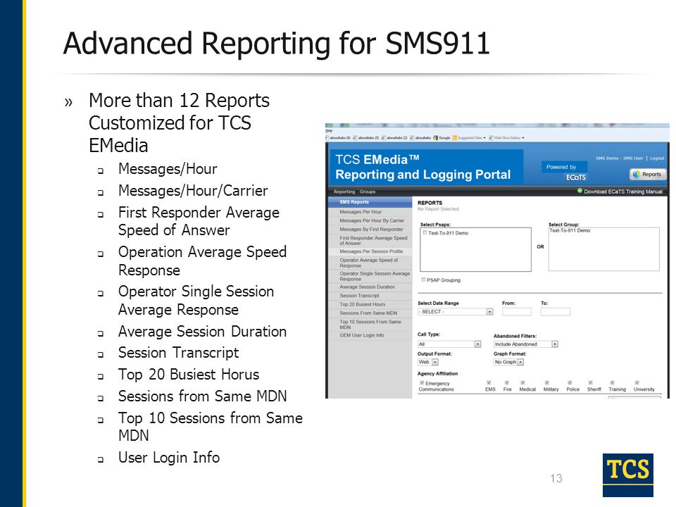 Advanced Reporting for SMS911