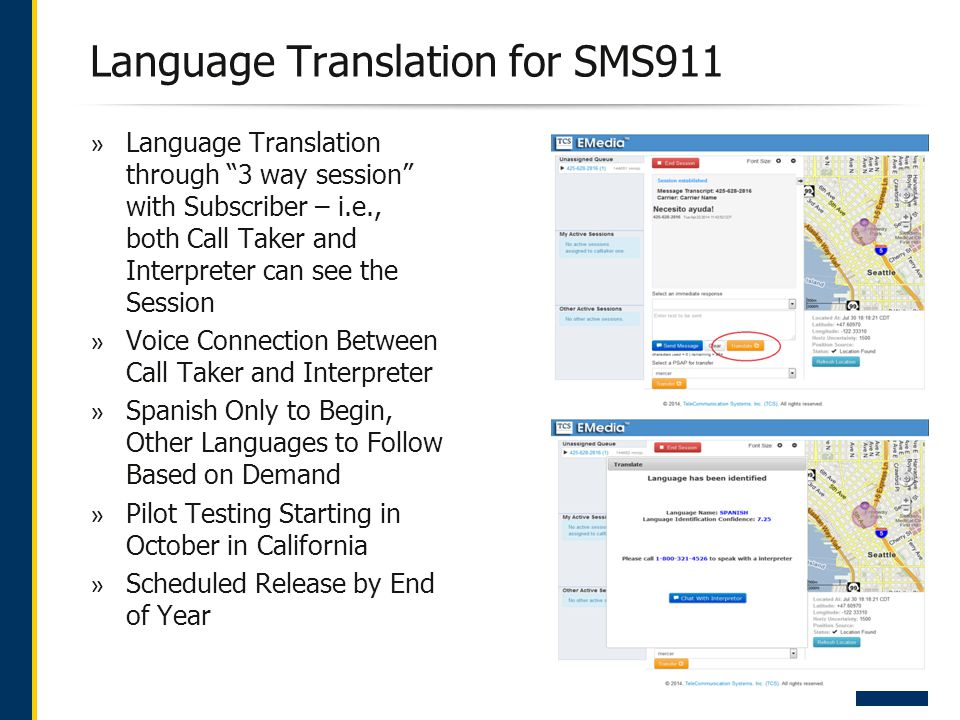 Language Translation for SMS911