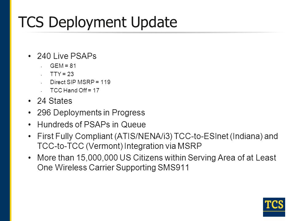 TCS Deployment Update 240 Live PSAPs 24 States