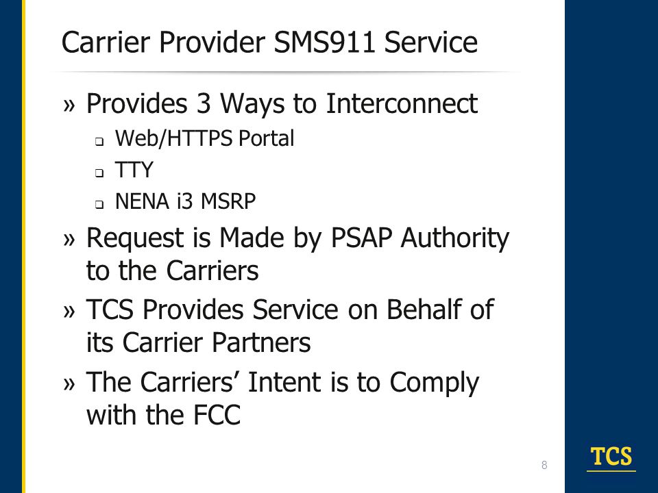Carrier Provider SMS911 Service