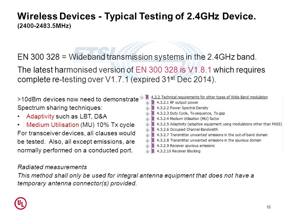 Wireless Devices - Typical Testing of 2.4GHz Device. (2400-2483.5MHz)