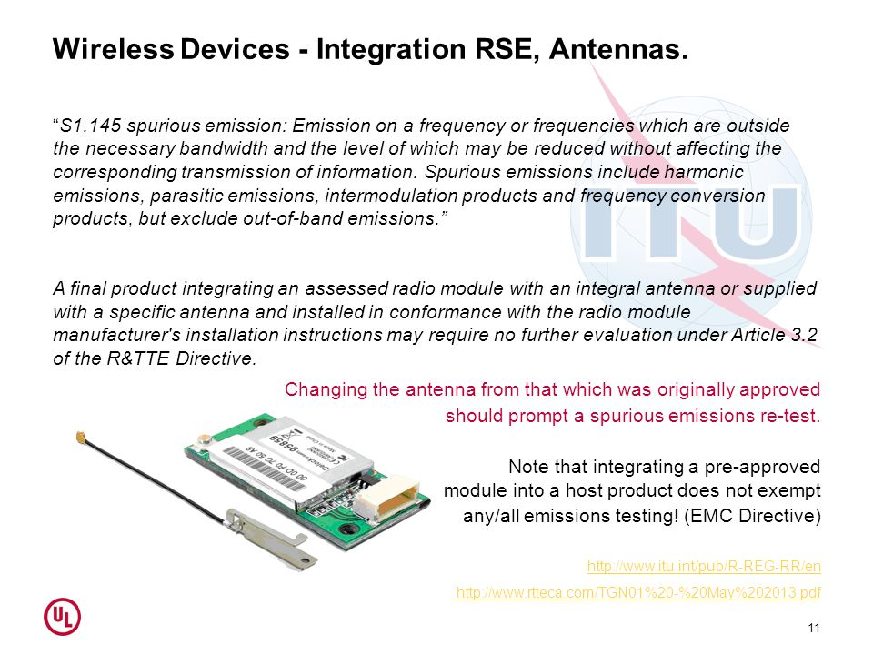 Wireless Devices - Integration RSE, Antennas.