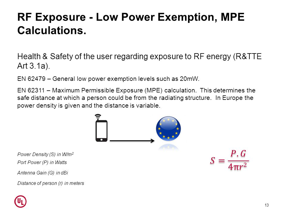 RF Exposure - Low Power Exemption, MPE Calculations.