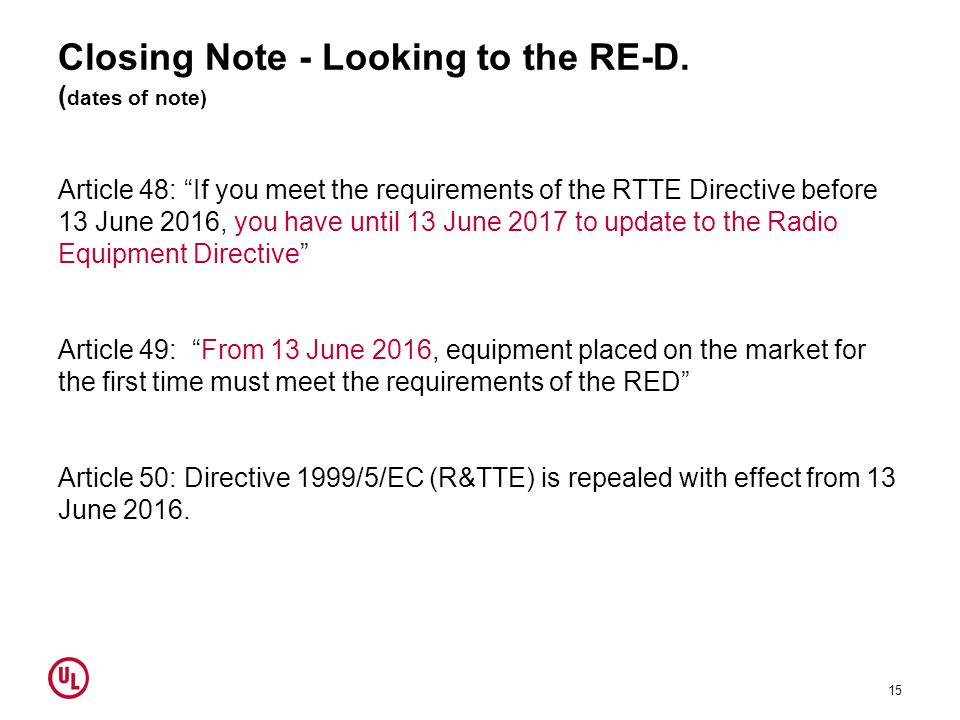 Closing Note - Looking to the RE-D. (dates of note)