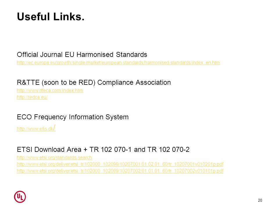 Useful Links. Official Journal EU Harmonised Standards