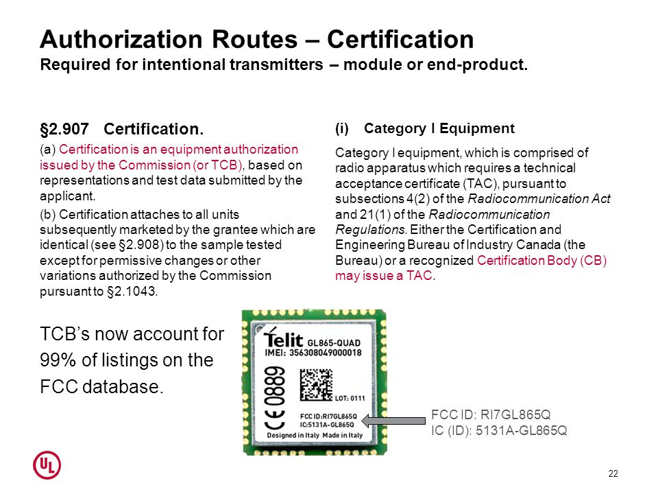 Authorization Routes – Certification Required for intentional transmitters – module or end-product.