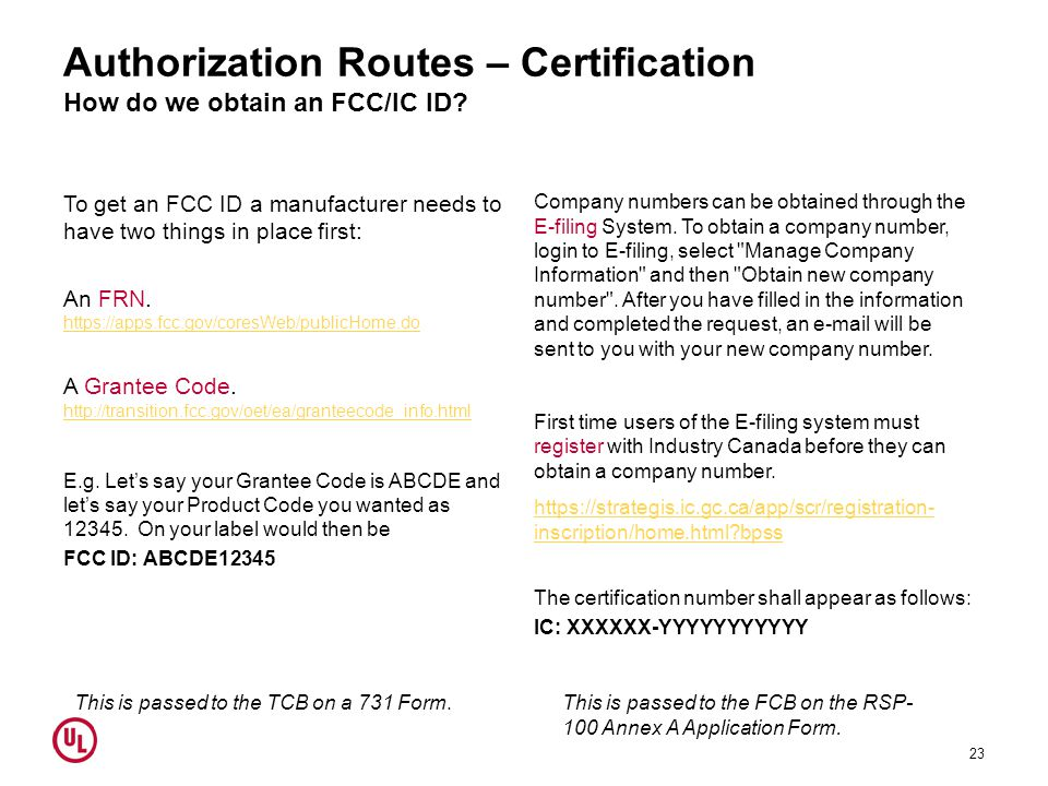 Authorization Routes – Certification How do we obtain an FCC/IC ID