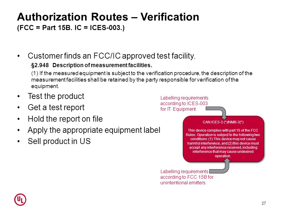 Authorization Routes – Verification (FCC = Part 15B. IC = ICES-003.)