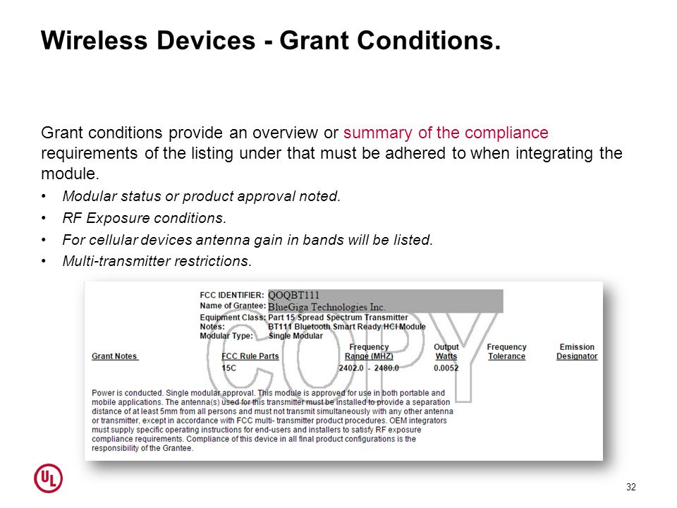 Wireless Devices - Grant Conditions.
