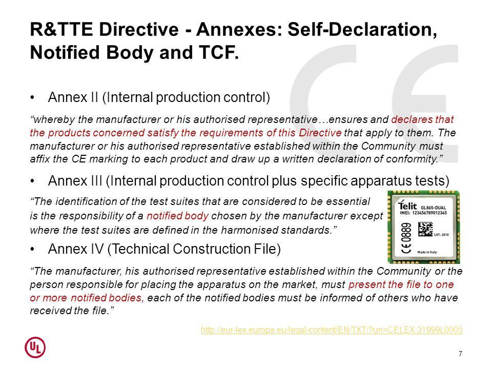 R&TTE Directive - Annexes: Self-Declaration, Notified Body and TCF.