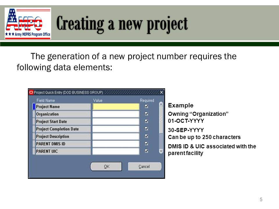 Creating a new project Below is the Project Summary Screen: