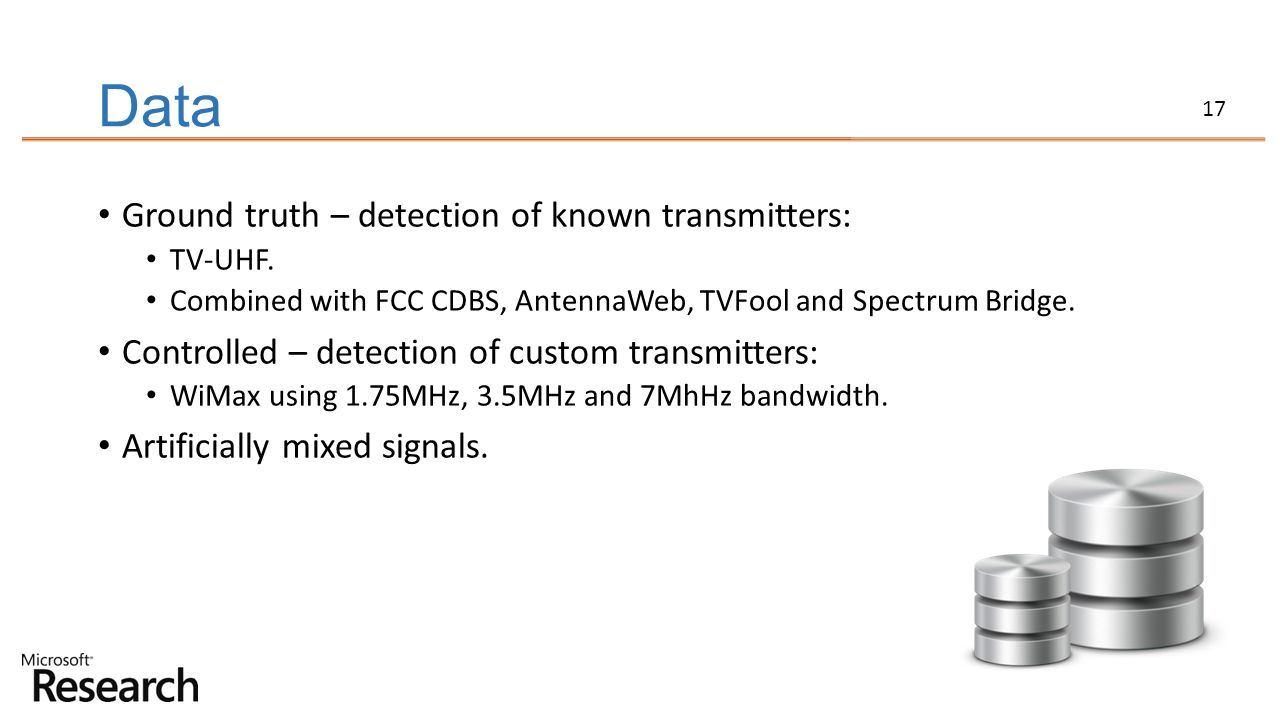 Data Ground truth – detection of known transmitters: