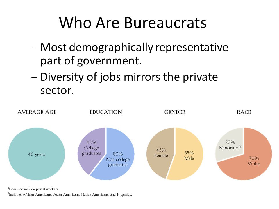 Who Are Bureaucrats Most demographically representative part of government.