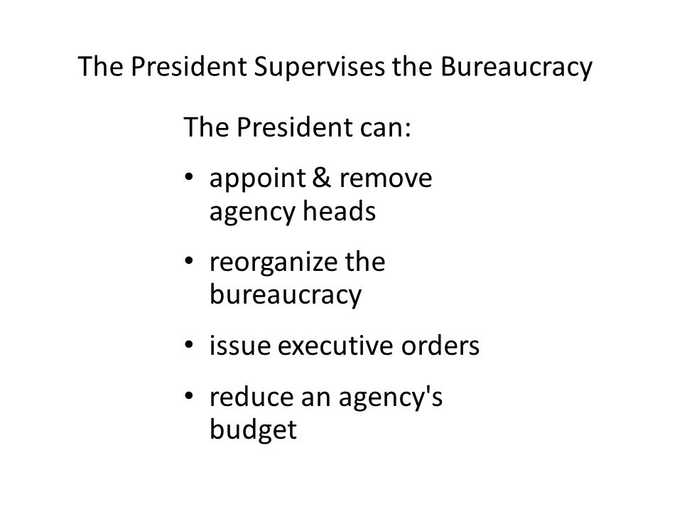 The President Supervises the Bureaucracy