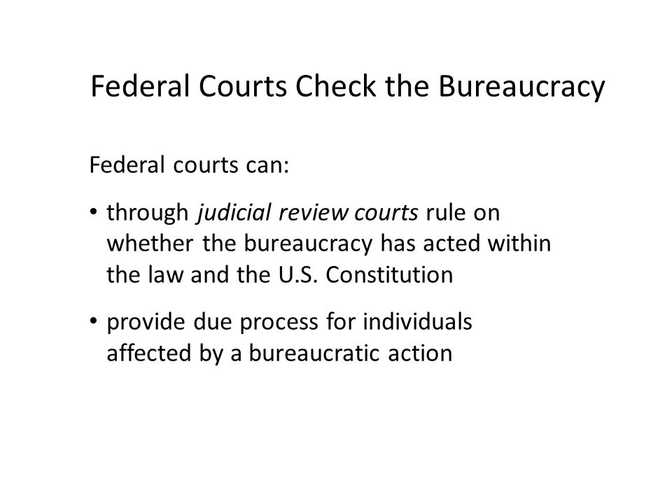Federal Courts Check the Bureaucracy
