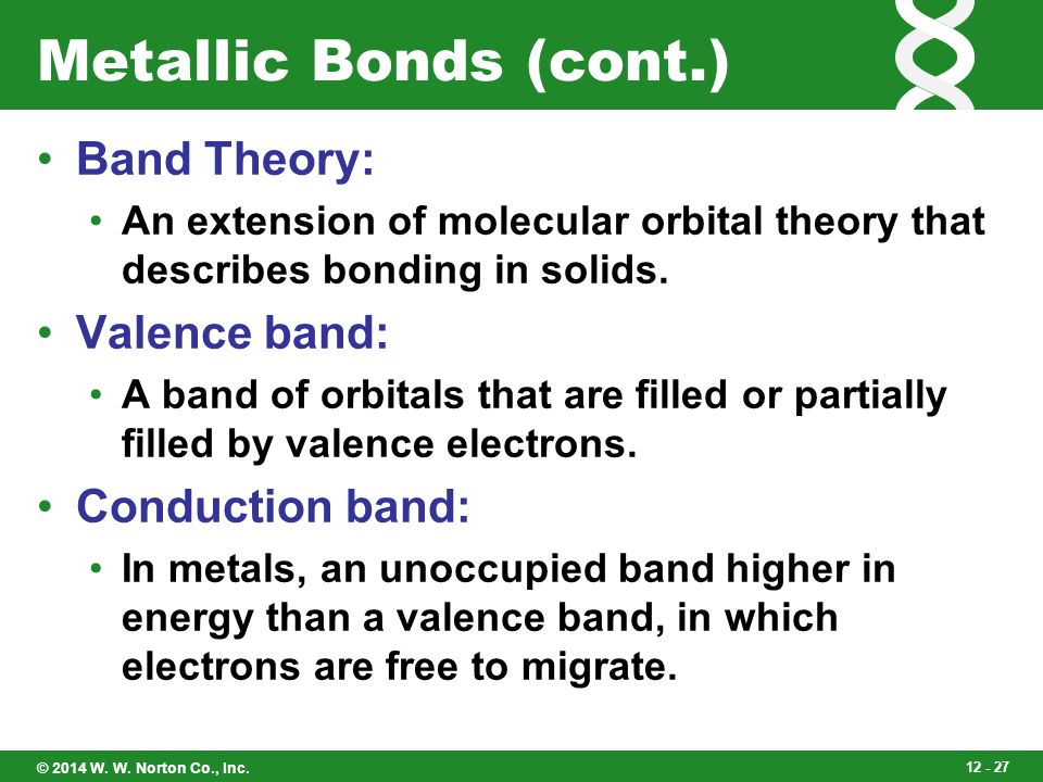 Metallic Bonds (cont.) Band Theory: Valence band: Conduction band: