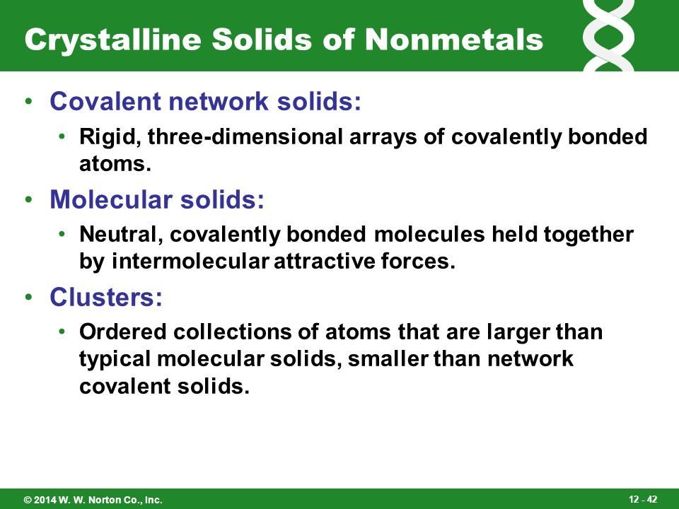 Crystalline Solids of Nonmetals