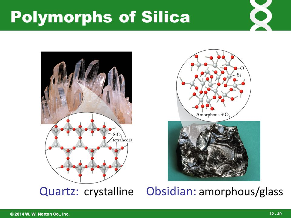 Polymorphs of Silica Quartz: crystalline Obsidian: amorphous/glass