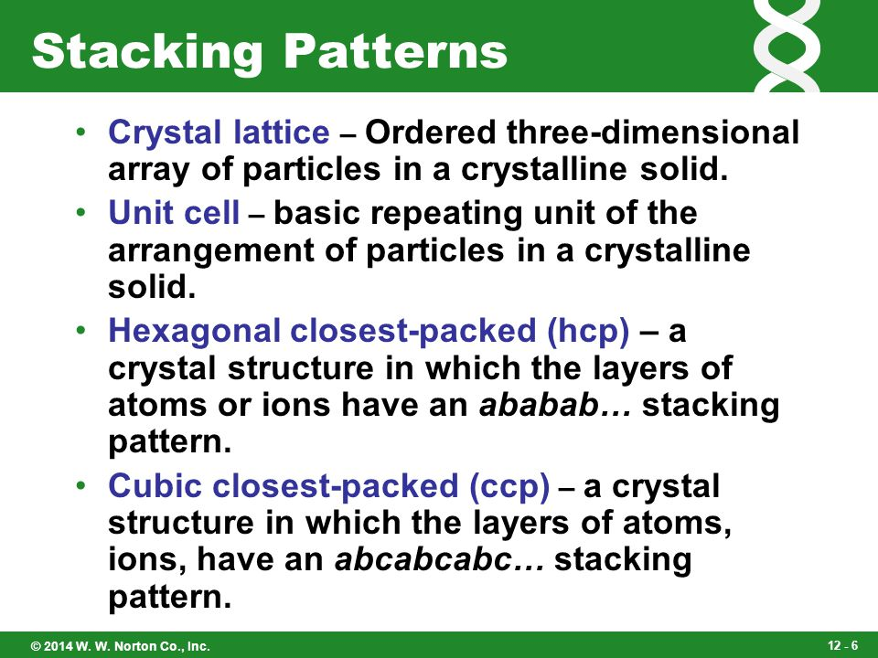 Stacking Patterns Crystal lattice – Ordered three-dimensional array of particles in a crystalline solid.