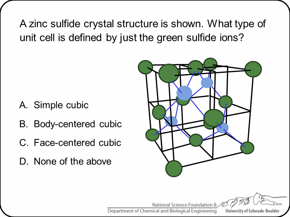 A zinc sulfide crystal structure is shown