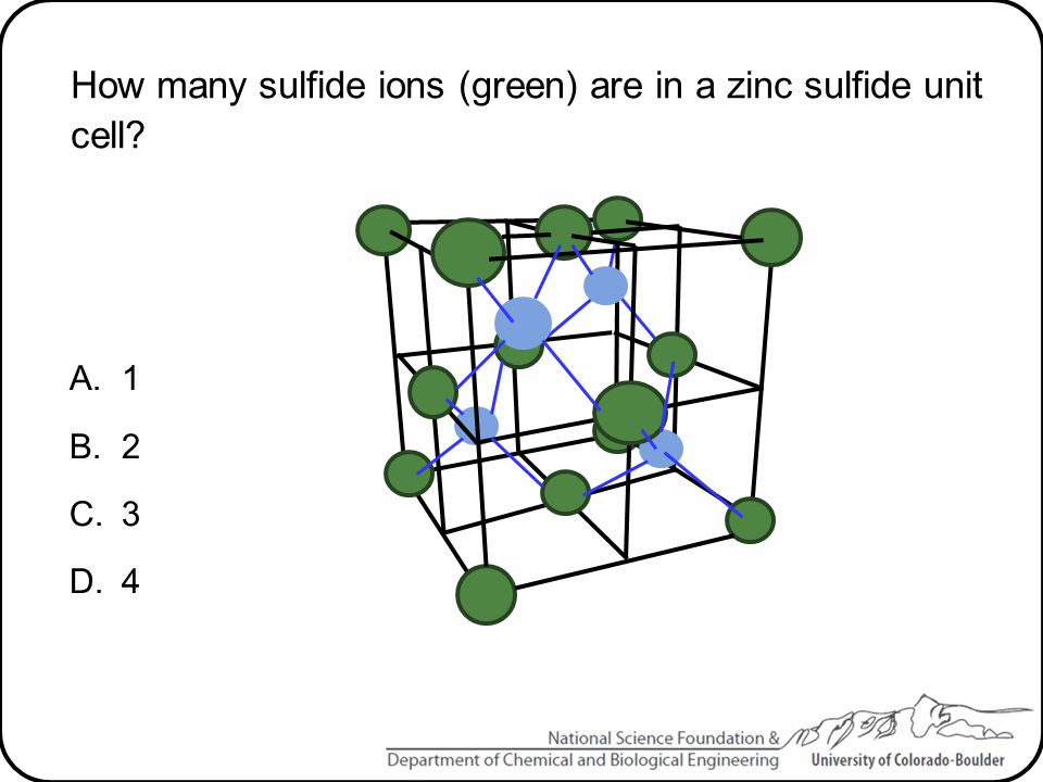 How many sulfide ions (green) are in a zinc sulfide unit cell