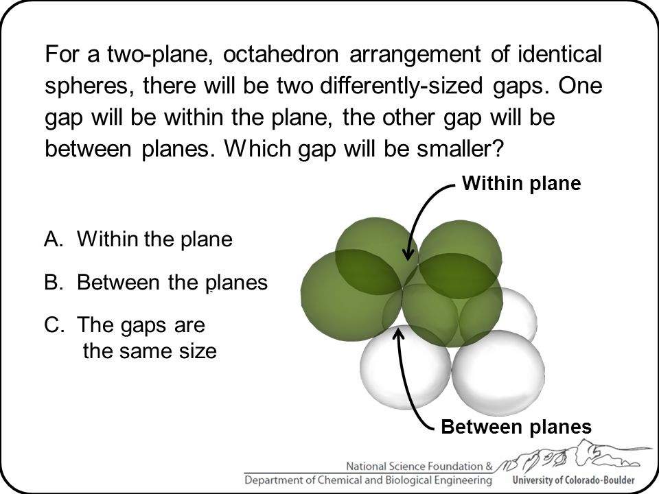 For a two-plane, octahedron arrangement of identical spheres, there will be two differently-sized gaps. One gap will be within the plane, the other gap will be between planes. Which gap will be smaller