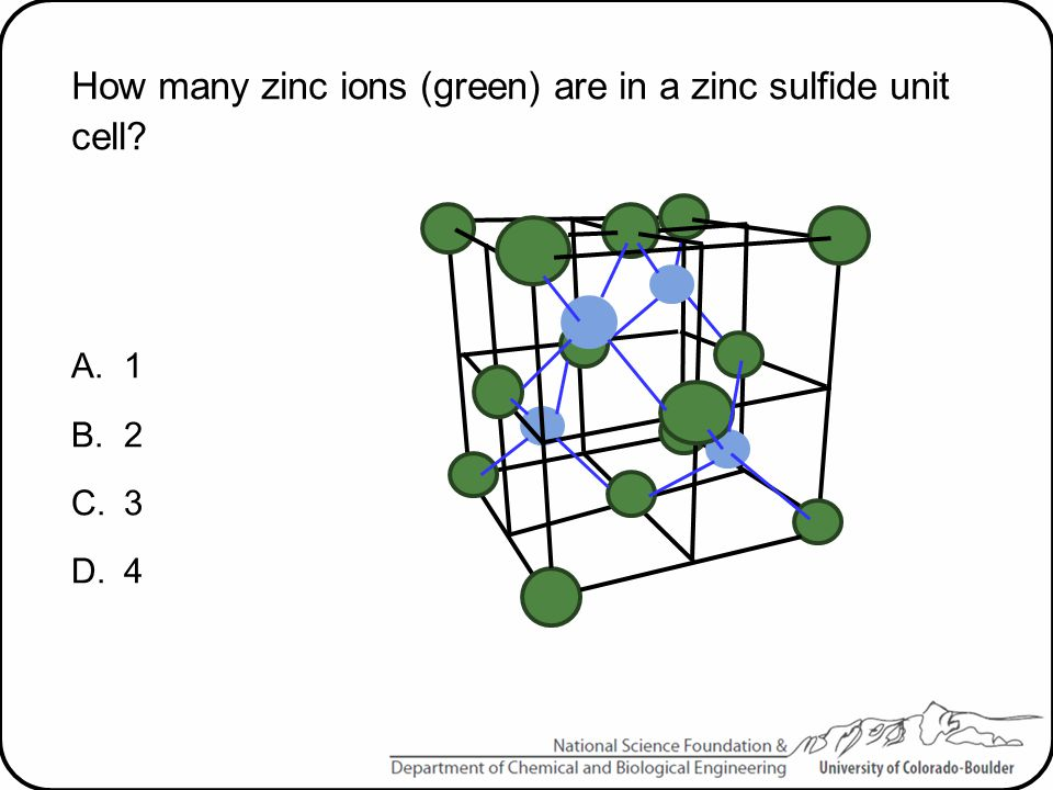 How many zinc ions (green) are in a zinc sulfide unit cell