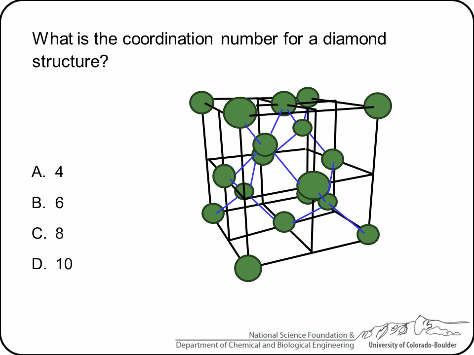 What is the coordination number for a diamond structure