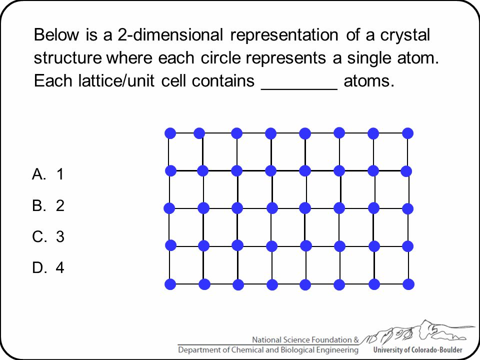 Below is a 2-dimensional representation of a crystal structure where each circle represents a single atom. Each lattice/unit cell contains ________ atoms.