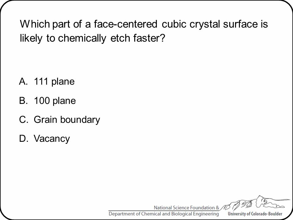 Which part of a face-centered cubic crystal surface is likely to chemically etch faster