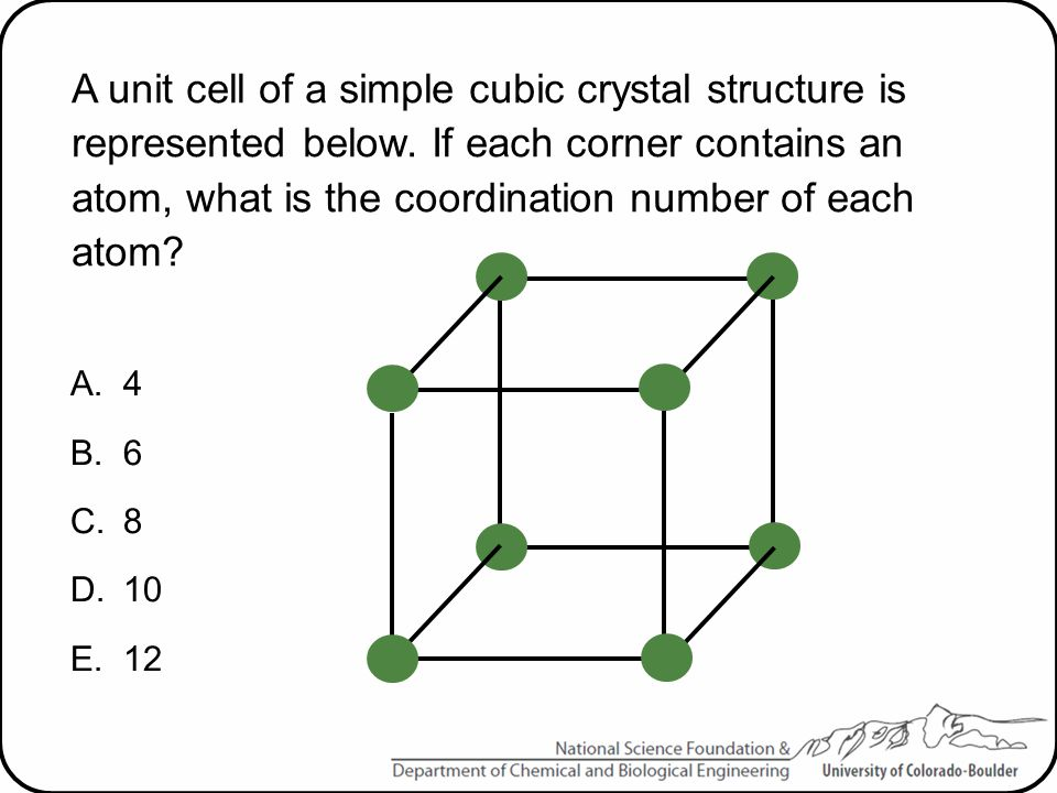 A unit cell of a simple cubic crystal structure is represented below
