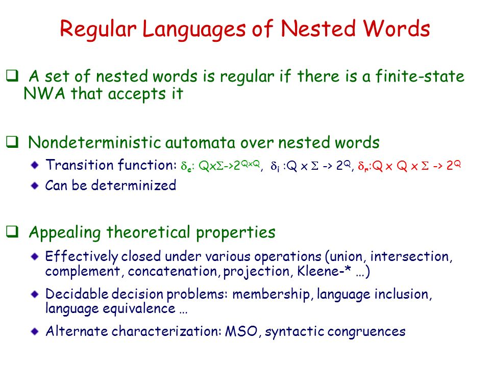 Regular Languages of Nested Words