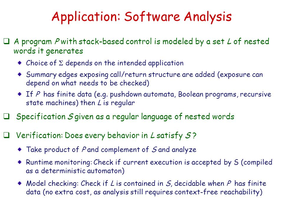 Application: Software Analysis