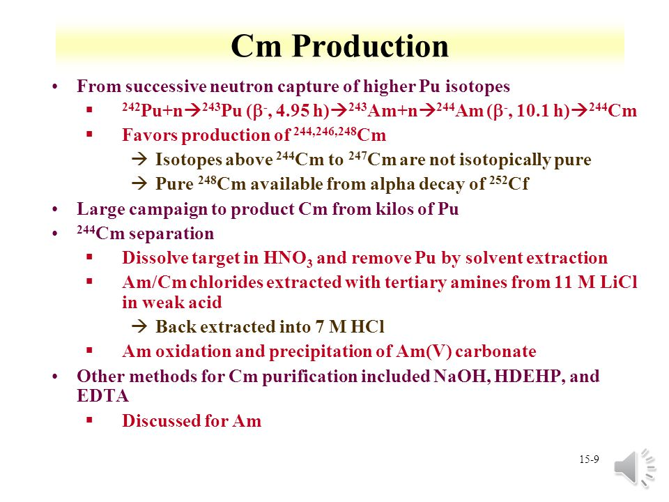 Cm Production From successive neutron capture of higher Pu isotopes