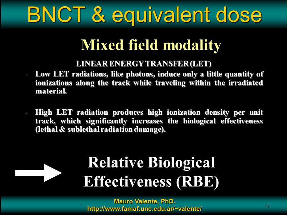 BNCT & equivalent dose Mixed field modality