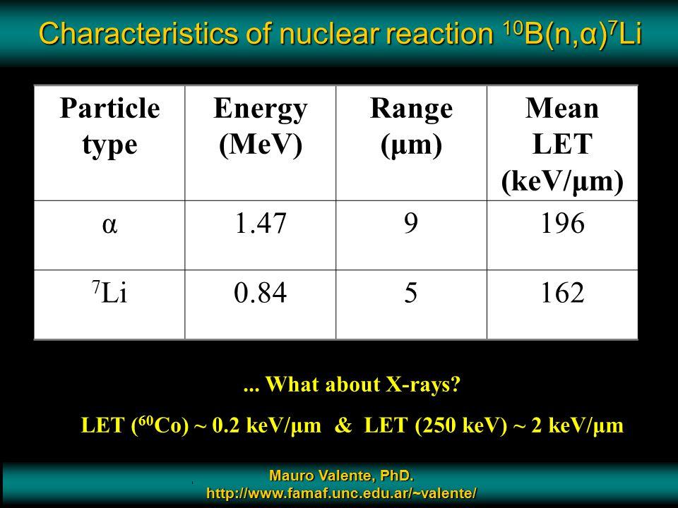 Characteristics of nuclear reaction 10B(n,α)7Li
