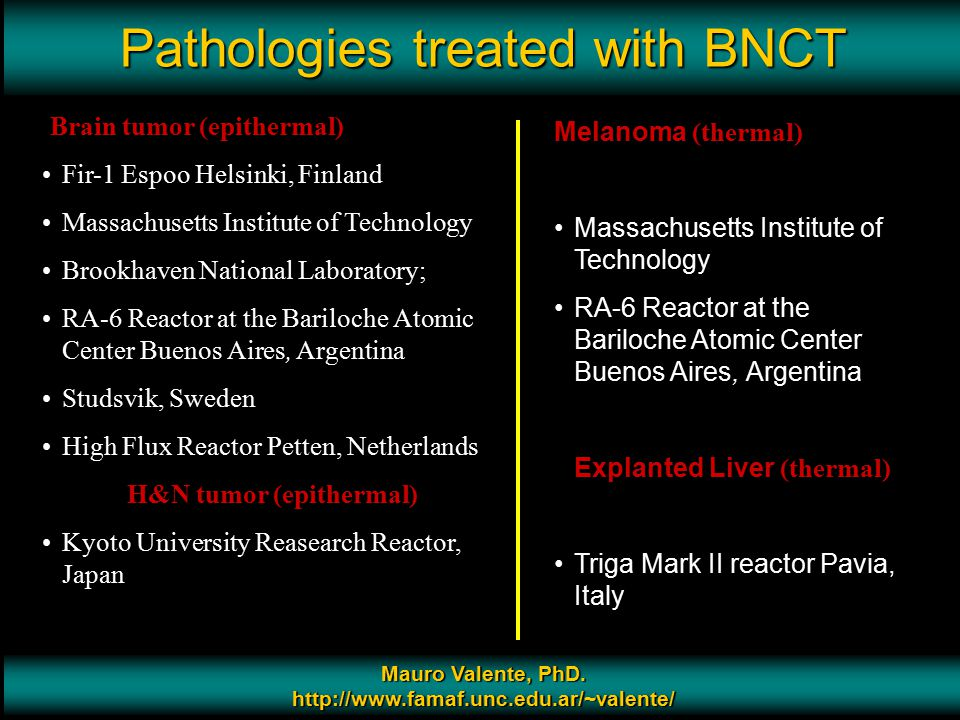 Pathologies treated with BNCT