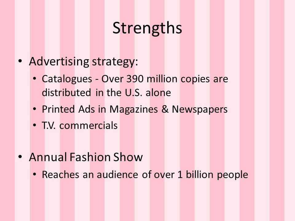 Strengths Advertising strategy: Annual Fashion Show