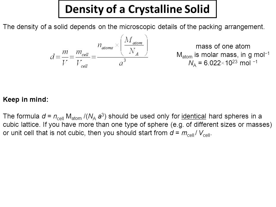 Density of a Crystalline Solid