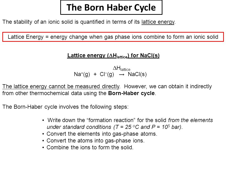 The Born Haber Cycle The stability of an ionic solid is quantified in terms of its lattice energy.