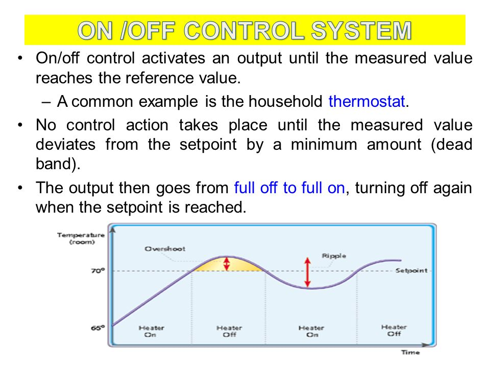 ON /OFF CONTROL SYSTEM On/off control activates an output until the measured value reaches the reference value.