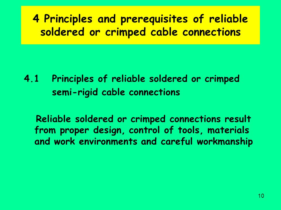 4 Principles and prerequisites of reliable soldered or crimped cable connections