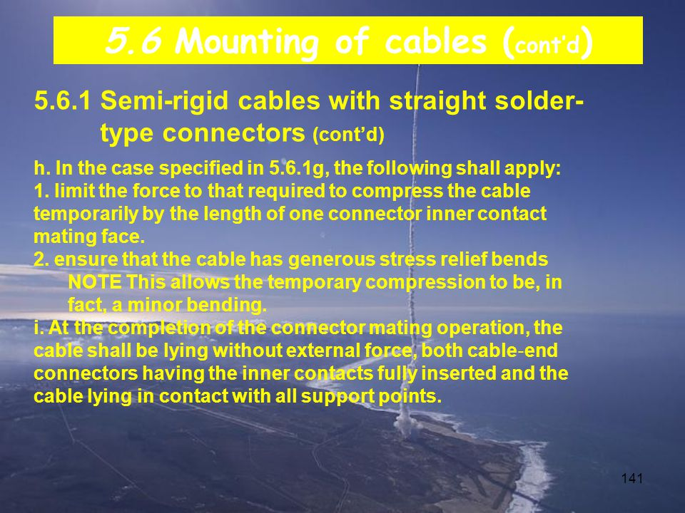5.6 Mounting of cables (cont'd)