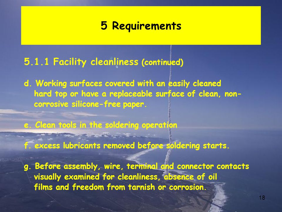 5 Requirements 5.1.1 Facility cleanliness (continued)