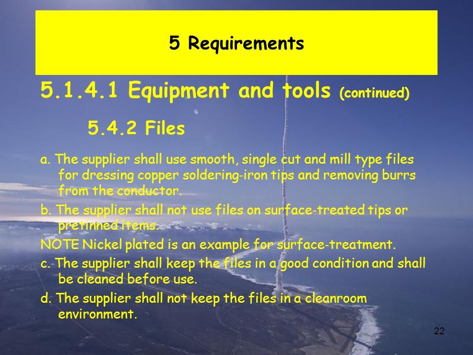 5.1.4.1 Equipment and tools (continued)