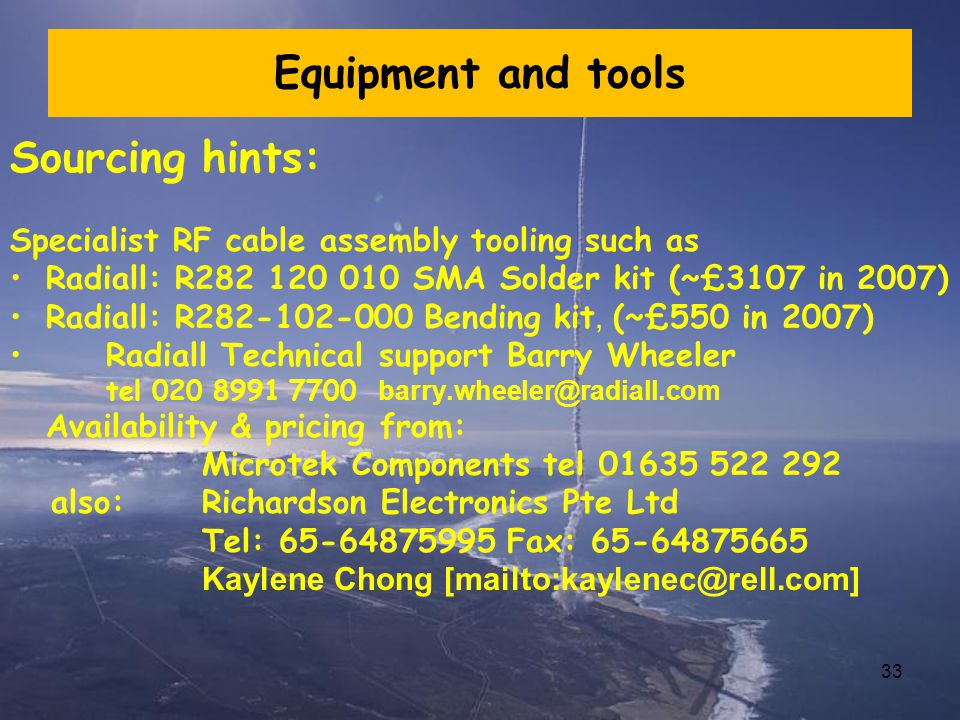 Equipment and tools Sourcing hints:
