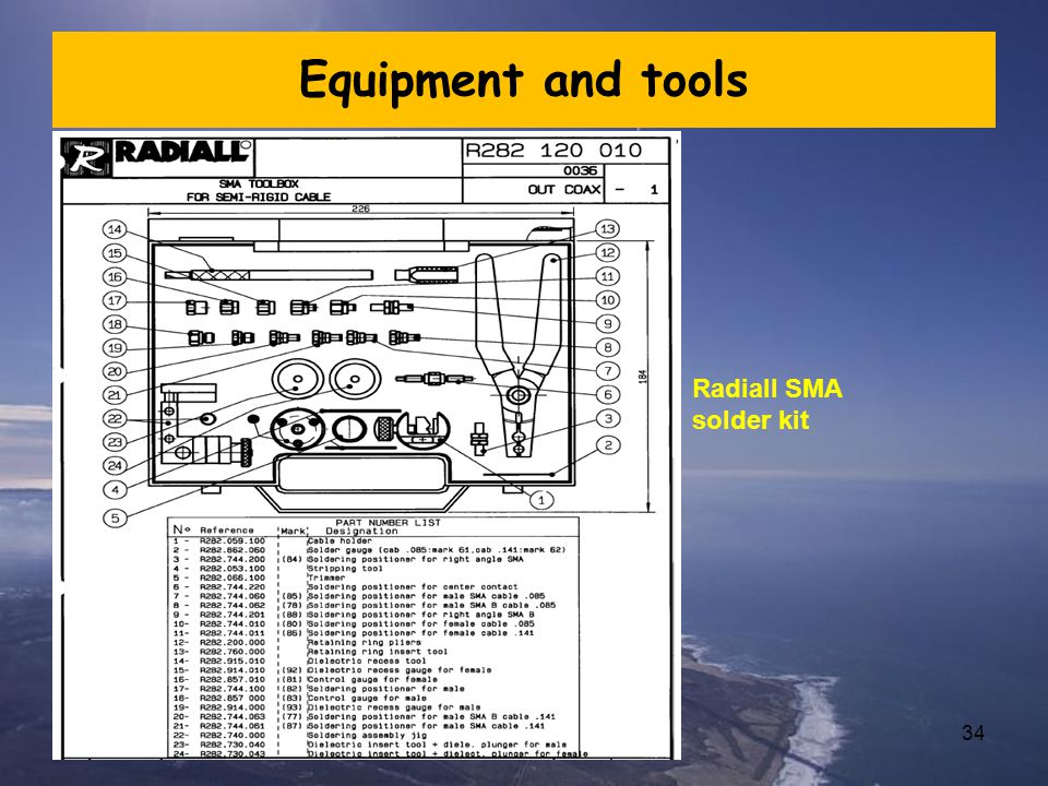 Equipment and tools Radiall SMA solder kit