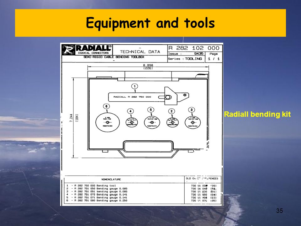 Equipment and tools Radiall bending kit